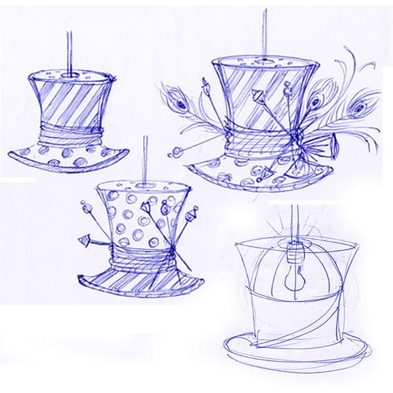 Skizzen für Hutlampen