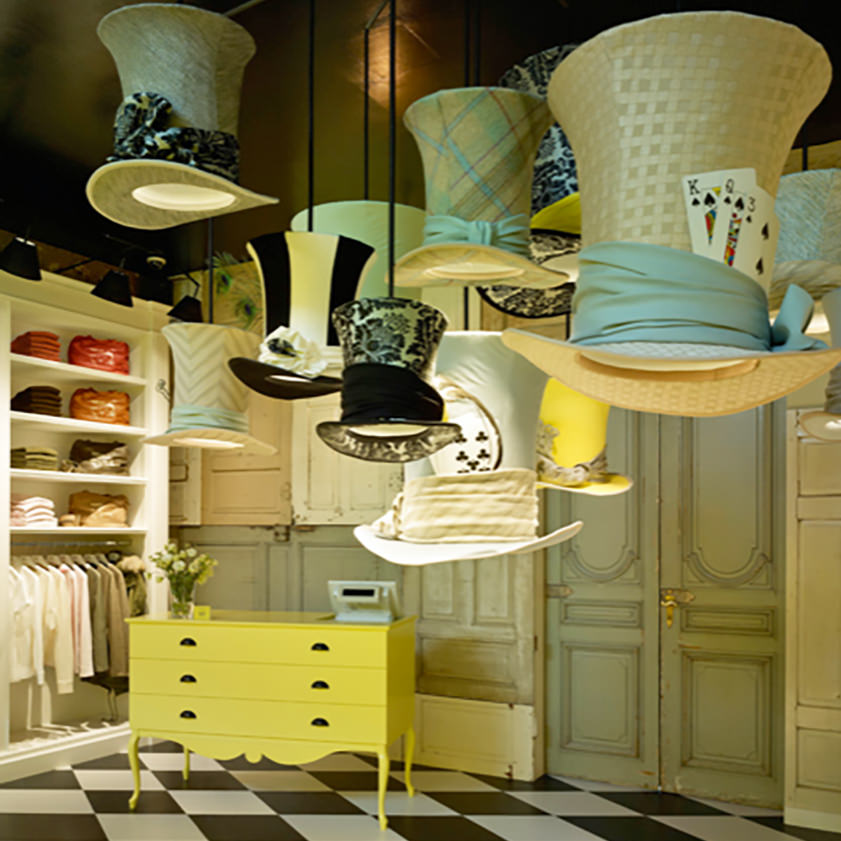 Hutlampen im Stil von Alice im Wunderland